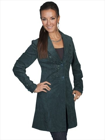 Scully Women's Embroidered Boar Suede Long Coat Teal 6