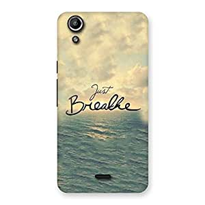 Delighted Just Breath Multicolor Back Case Cover for Micromax Canvas Selfie Lens Q345