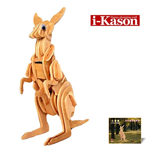 Authentic High Quality i-Kason® New Favorable Imaginative DIY 3D Simulation Model Wooden Puzzle Kit for Children and Adults Artistic Wooden Toys for Children - Wallaby