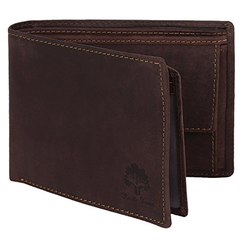 RFID Wallets Handmade Leather Wallets for Men gifts by Rustic Town (Dark Brown)