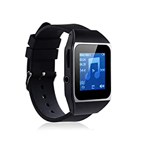 MAHDI 8GB Intelligent Watch Bluetooth Mp3 Music Player Wireless Watch Mp3 player with 1.5 Touch Screen, World Clock Function(black)