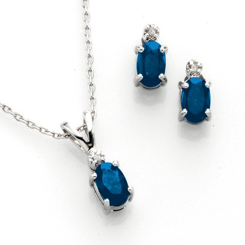Sterling Silver Genuine Sapphire and Diamond-Accent Earrings and Matching Pendant 2pc Set