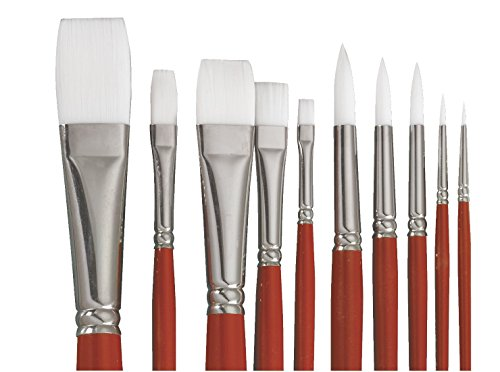 Sax Optimum White Taklon Flat Brushes with Long Handle - Size 2