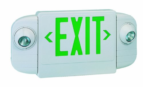 Royal Pacific RXEL20GW-E Halogen Exit Sign / Emergency Light Combo, White with Green Letters