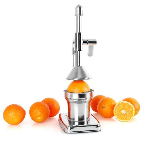 OneConcept EcoJuicer - Presse à fruits à levier mécanique pour preparation de jus de fruit frais sans courant (stable, silencieux, acier inoxydable) - chrome