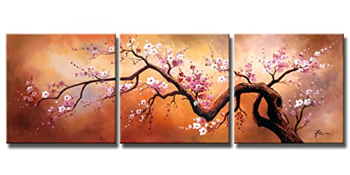 Ode-Rin 100% Hand Painted Abstract Cherish Art Oil Paintings Pink Plum Blossoms Blooming In Golden Sky 3 Panels Wood Framed Inside For Living Room Art Work Home Decoration