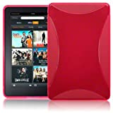 AMAZON KINDLE FIRE TPU GEL SKIN CASE - HOT PINK, WITH MICROFIBRE CLEANING CLOTH
