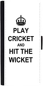 Snoogg Play Cricket And Hit Wicket White Graphic Snap On Hard Back Leather + ...