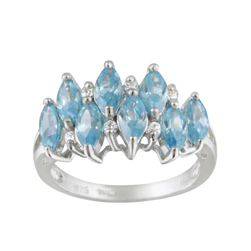 Sterling Silver Light Blue Marquise an Clear Cubic Zirconia Ring, (6.05 cttw), Size 7