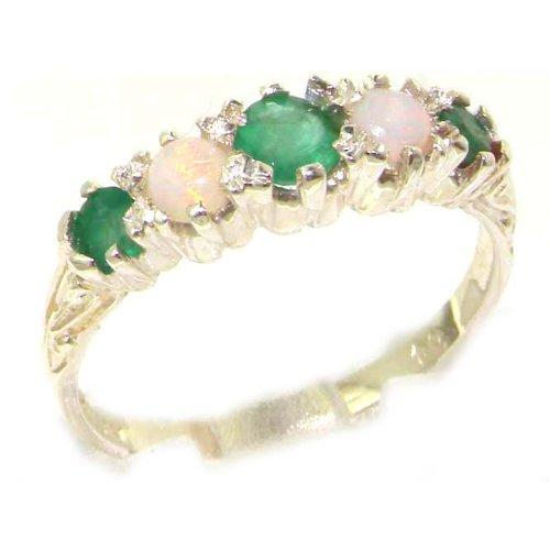 英国製 925 シルバー 天然 エメラルド オパール レディース 装飾 アンティークスタイル ハーフエタニティ リング 指輪 サイズ 15 各種サイズあり