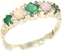 Solid 10K White Gold Natural Emerald amp Opal Vintage Style Womens Band Ring - Finger Sizes 4 to 12