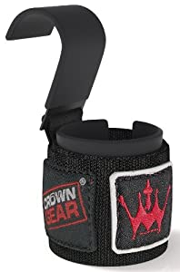 Power Weight Lifting Hooks - Best Weightlifting Strap Hooks for Gym Training Workout Like Deadlift & Shrugs - Crown Gear Ultimate Grips Powerlifting Hook with Cushioned Neoprene Wrist Straps - Comes in Pair - 1 Year Hassle-free Replacement Warranty