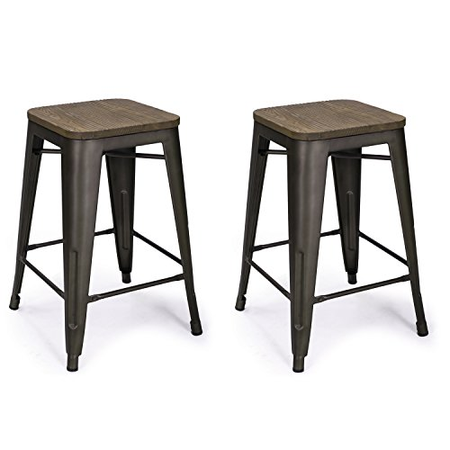 Adeco 24-inch Metal Counter Stools, Vintage Wood Seat Top Chair, Black Bronze (set of two) (Black Wood Bar Stools compare prices)