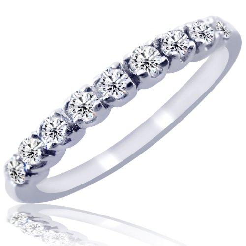 Pave Diamond Wedding Band Ring 10K White Gold 4.5 (1/5cttw)