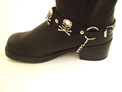 Biker Boots Boot Chains Black Leather with Skull & Crossbones Ornaments