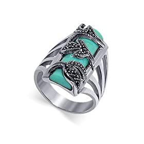 Silver Marcasite Band Reconstituted Turquoise Ring