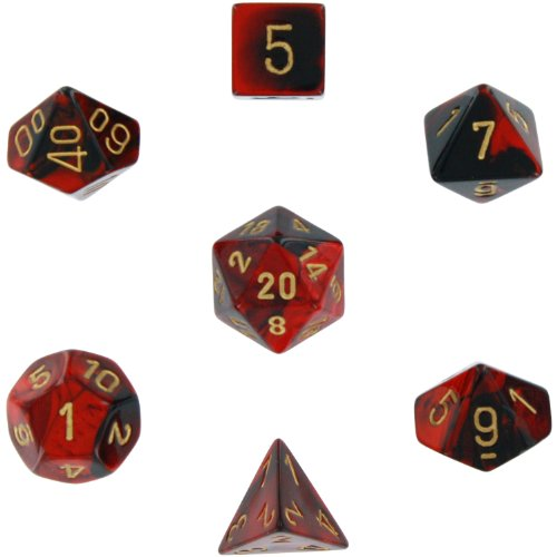 Polyhedral 7-Die Gemini Dice Set: Black & Red with Gold (d4, d6, d8, d10, d12, d20 & d00) CHX-26433