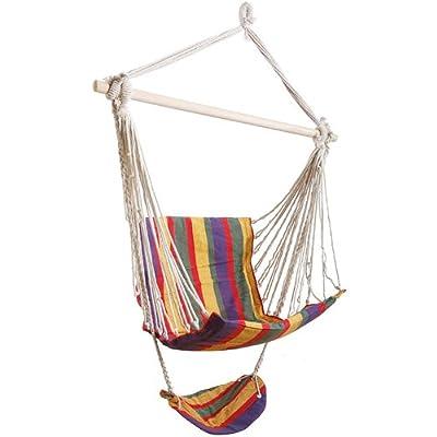 Swing Seat Hammock with Footrest Wooden Garden Hanging Tree Seat 100x50cm