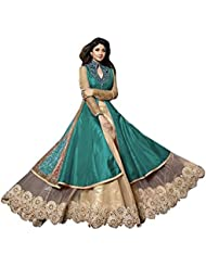 SK Creation Attractive Teal And Cream Neck Embroidered Long Sarara Style Anarkali Suit With Attractive Long Skirt