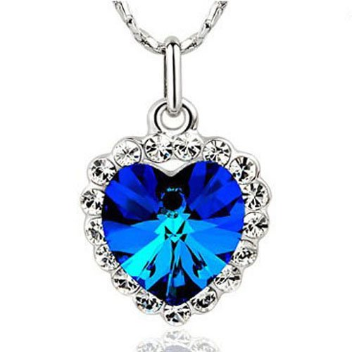 Tungsten Love Beautiful Heart Of Ocean Crystal Pendant Necklace Birthday Gifts (Blue)