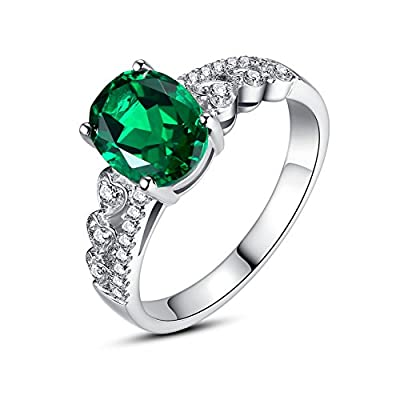 Sterling Silver Hearts with 2.5 Carats Oval Created Emerald Women's Engagement Ring