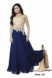 Maruti Creation Women's Georgette Semi-stitched Anarkali Suit Dress Material (MC1017_FREE_SIZE_BLUE)