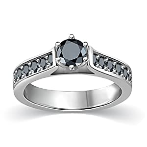 1/2 ct tw Black Round Diamond Cathedral Accent Diamond Engagement Ring 14K White Gold on Sterling