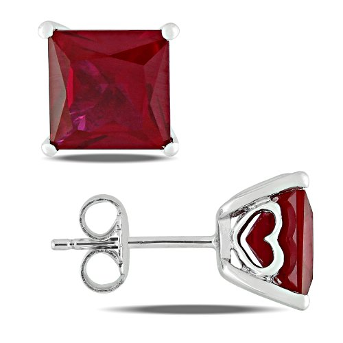 Sterling Silver 6 1/8 CT TGW Created Ruby Fashion Stud Earrings