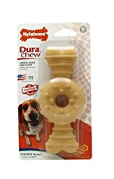Nylabone Dura Chew Wolf Chicken Flavored Textured Ring Bone Dog Chew Toy