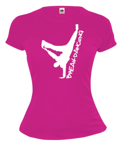 Girlie T-Shirt Breakdancing-S-Fuchsia-White