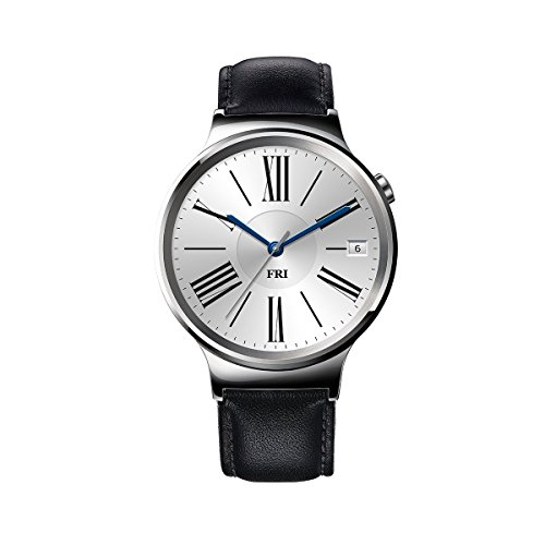 Huawei Watch Stainless Steel with Black Leather Strap