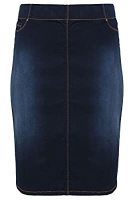 Yoursclothing Plus Size Womens Indigo Denim Pull On Midi Pencil Skirt