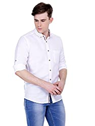 4Stripes Men's Cotton Linen Shirt (4ssh029_M_WHITE)