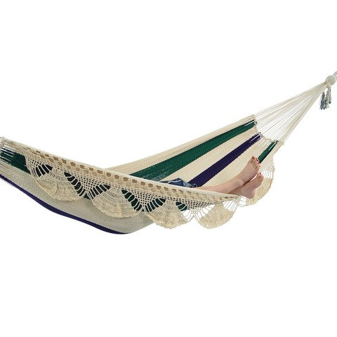 Outdoor Nicaraguan Cotton Hammock Bed Family Style Deluxe