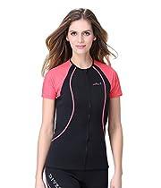 Lemorecn Wetsuits 1.5mm Neoprene Rash Guard for Men and Women Scuba Diving Short Sleeve Shirt (Women' red trim, Large)