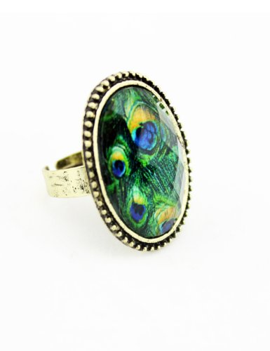 WorldTree Fashion Vintage Alloy Bronze Crystal Gemmed Peacock Birds Tail Feather Ring for women
