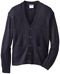 Genuine Boys\' Long Sleeve Classic V-Neck Cardigan Sweater, Navy, 8