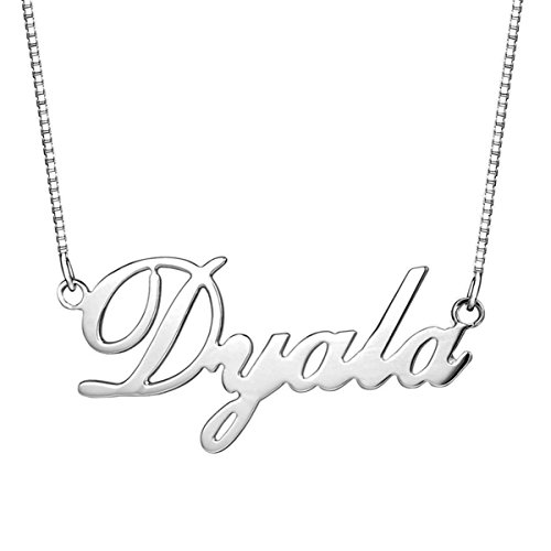 HACOOL 925 Sterling Silver Personalized Name Necklace - Custom Made with any name (Silver) (Personalized Name Baby compare prices)
