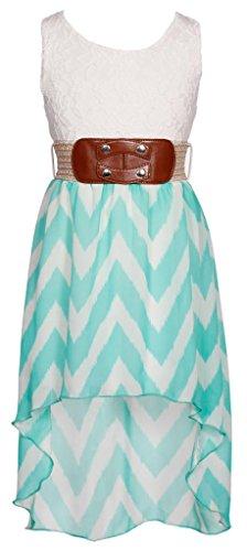 Wonder Girl Big Girls' Hi-Low Fuzzy Chevron Chiffon Dress Set 10 Jade front-1074509