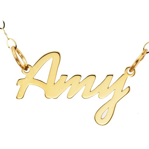 9ct Yellow Gold Amy Lightweight Name Necklet 43cm Chain