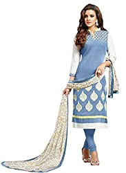M Fab Ethnic Printed And Embroidered Wild Blue Chanderi Cotton Free Size Straight Chudidar Salvar Suit Dress Material