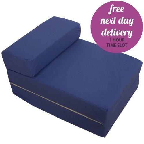 Navy Blue Foam Fold Out Sleep Over Guest Single Z Futon Sofa Bed