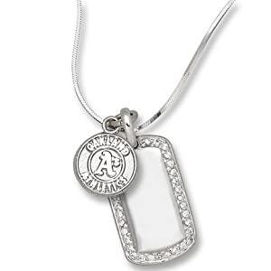 MLB Oakland Athletics 7/16 Inch On Mini Dog Tag - Sterling Silver