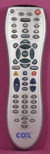 COX SILVER UNIVERSAL ON-DEMAND DVR / PVR 4-DEVICE REMOTE CONTROL with PICTURE-in-PICTURE (PIP) Controls: TV, Cable, DVD, AUX