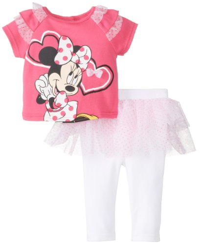 Disney Baby Baby-Girls Newborn Pink Glo 2 Piece Minnie Mouse Skegging Set With Ruffles, Pink Glow/Arctic White, 3-6 Months front-653980