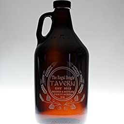Personalized Engraved Home Brew Growler Etched with Hops and Wheat Homebrew Art | Custom Beer Gift