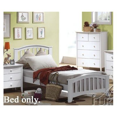 Twin Size Bed Contemporary Style White Finish