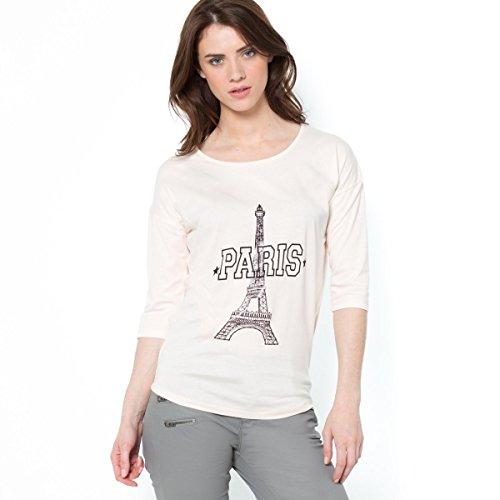 La Redoute Womens Eiffel Tower 3/4-Sleeve T-Shirt Pink Size Us 4/6