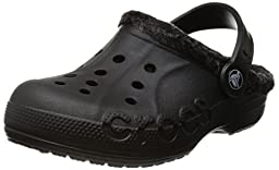 Crocs Infants/Toddlers Baya Heathered Lined Clog,Black/Black,US 6/7 M