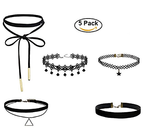 New Choker Necklace Set Stretch Velvet Gothic Tattoo Lace Designs for Ladies Fashion accesories Jewelry (5 Pcs) (Accesory For Pc compare prices)
